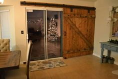 Barn door slider....love it over the sliding doors at night!