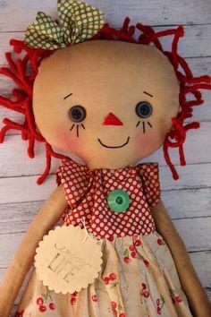 Red Cherry Annie  Primitive Raggedy Ann Doll by HeartstringAnnie, $39.00