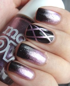 black & purple glitter nails