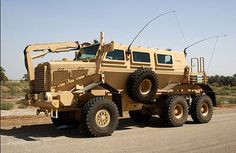 The Force Protection Industries' Buffalo is a lot like the Oshkosh M-ATV MRAP in that it has a hardened hull designed to deflect explosive blasts.