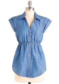 Sidewalk Sale Hostess Top - Blue, Solid, Buttons, Pockets, Casual, Short Sleeves, Safari, Menswear Inspired