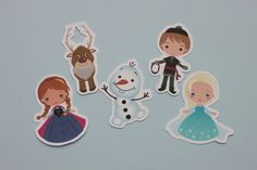 Tag personagens tema Frozen da Disney. -(30un.) - cenarium.arte@hotmail.com