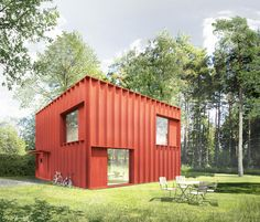 Diseño de casa pequeña cuadrada estilo modular