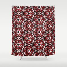 Buy Shower Curtains featuring Black, white and red graffiti stars 9055 by Khoncepts. Made from 100% easy care polyester our designer shower curtains are printed in the USA and feature a 12 button-hole top for simple hanging. #blackwhiteandred