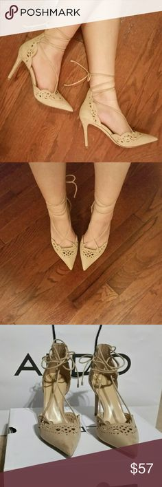 """NIB Aldo beige, laser cut out, lace up heels, 7.5 These gorgeous heels feature laser cut out designs around the toe and heel areas. Have lace up style that ties behind the calf. Comes in beige suede. 4"""" heel height.  NIB. Aldo, size 7.5. Aldo Shoes Heels"""