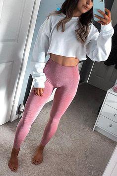 Seamless Long Sleeve T Shirt Leggings Set – myslady Teen Fashion Outfits, Sport Outfits, Fashion Clothes, Khloe Kardashian Style, Sport Fitness, Fitness Goals, Yoga Pants Girls, Activewear Sets, Best Leggings