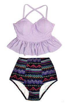 Lavender Violet Long Peplum Top and Black Aztec Tribal High waist waisted Bottom Swimsuit Swimwear Bikini set Bathing suit Bathingsuit S M by venderstore on Etsy