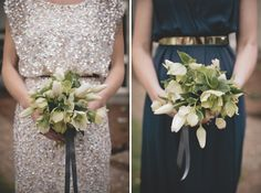 Glitter and Navy Bridesmaid Dresses by Danelle Bohane <-- I do love the sequins, but it might be a little much. Love this combo, though.
