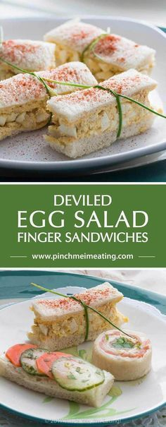 Deviled egg salad finger sandwiches are a classic for afternoon tea! Find these … Deviled egg salad finger sandwiches are a classic for afternoon tea! Find these and other tea sandwich recipes weekly at Tea for Tuesdays. Snacks Für Party, Appetizers For Party, Appetizer Recipes, Tea Party Snacks, Salad Recipes, Sandwich Appetizers, Tea Party Desserts, Sandwich Fillings, Tea Time Snacks