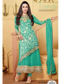 Karishma Kapoor In Designer Aqua Green Anarkali Suit