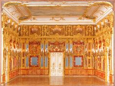 The Amber Room in the Catherine Palace of Tsarskoye Selo near Saint Petersburg, Russia is a complete chamber decoration of amber panels backed with gold leaf and mirrors. Romanov Palace, Amber Room, Paradise Places, Baltic Cruise, Russian Architecture, Catherine The Great, Winter Palace, Throne Room, Imperial Russia