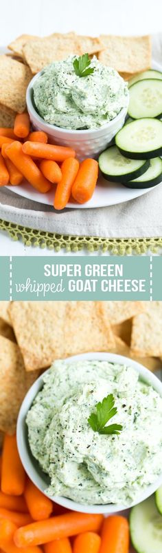 Combine a few simple ingredients together in a food processor to create this flavor packed Super Green Whipped Goat Cheese. Use it as a dip for fresh vegetables or spread it on your favorite sandwich and more!