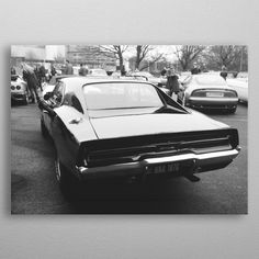 Dodge Charger Poster made out of metal. High-quality metal wall art meticulously designed by nicoavraa would bring extraordinary style to your room. Artwork Prints, Poster Prints, Posters, White Ink, Black And White, Canvas Art, Canvas Prints, Poster Making, Dodge Charger