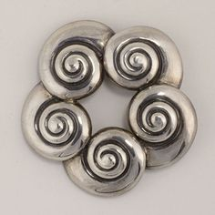"Brooch | Margot de Taxco. ""Shells"". Sterling silver. ca. 1950s."