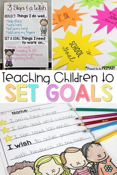 Goal Setting for Kids. A must-read post about teaching primary children to reflect on learning and set goals using the 3 stars and a wish activity. Includes 2 FREE printables to print and use in your classroom for assessment. setting for kids activities Teaching Respect, Teaching Kids, Geek Culture, Goal Setting Activities, Planning School, Student Goals, Student Data, Social Emotional Learning, Learning Goals