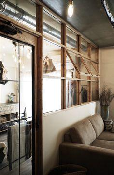 Natural tones indoor window - a mix of mid-century modern, bohemian Cafe Interior, Room Interior, Interior And Exterior, Plan Duplex, Casa Retro, Industrial Interiors, Home And Deco, Cabana, Windows And Doors