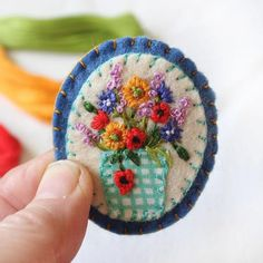 Hand Embroidered Wild Flowers Brooch with Marigolds, Poppies, Cornflowers & Fireweed, Botanical Embroidery Art Felt Brooch, Summer Wedding Fabric Brooch, Felt Brooch, Brooch Pin, Wool Embroidery, Embroidery Patterns, Felt Flowers, Fabric Flowers, Felt Crafts, Fabric Crafts