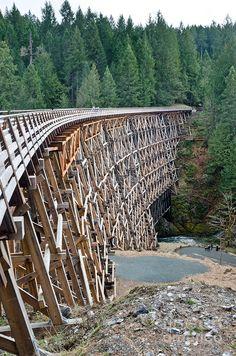 wooden train trestle bridge