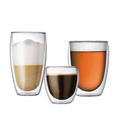 Bodum Pavina debbelwandige glazen. Espresso, koffie, thee of Latte- glazen vandaag zijn alle maten weer binnengekomen!