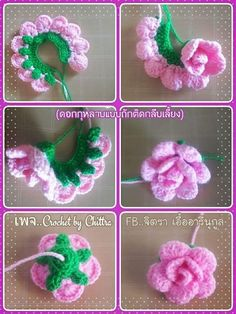 Best 10 Learn How to Crochet Simple Origami Rose from a Circle by Donna Wolfe from Naztazia – SkillOfKing. Beau Crochet, Crochet Puff Flower, Crochet Flower Tutorial, Crochet Flower Patterns, Crochet Designs, Crochet Flowers, Knit Crochet, Knit Lace, Diy Flowers