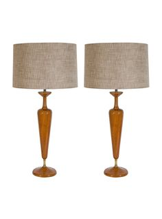 Pair of Scandinavian Modern Teak Wood Lamps