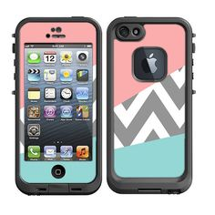 Skins FOR Lifeproof iPhone 5 Case – Chevron Solid mixed pattern pink blue gray white grey - Free Shipping - Lifeproof Case NOT included on Etsy, $9.95