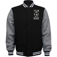 Personalized Soccer Coach Fleece Varsity Jacket | Available in other styles & colors.