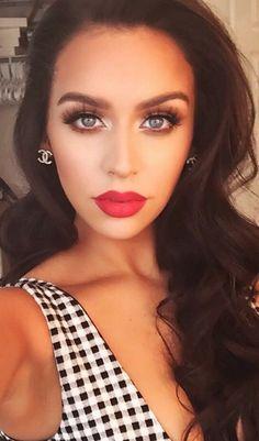 bold red lips with smokey eyes + false lashes