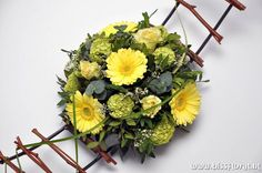 Spring Flower Arrangement -yellow Germini, rose and Viburnum - yellow for Easter