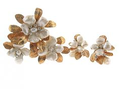 Ruser Freshwater Pearl and Diamond Flower Brooch and Earrings Set in Platinum and 14K