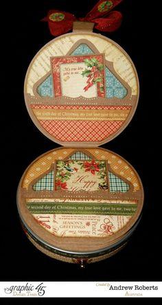 Love the details on this beautiful trinket box by Andrew using The Twelve Days of Christmas #graphic45 #g45handmadegifttutorials