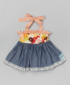 Look at this Sweet Petunia Orange & Chambray Floral Halter Top - Toddler & Girls on #zulily today!