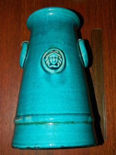 ANTIQUE  PORCELAIN VASE OTTOMAN Turquoise MEDUSA THEME 19.C