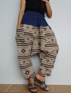 Harem Drop crotch pant,Unisex Baggy Trouser, Tribal Woven  and Denim fabric(pants-W8). by Brightfashion on Etsy