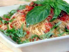 Fresh Tomato, Basil, and Garlic Sauce over Angel Hair Pasta...use spaghetti squash for healthier meal