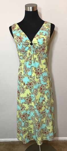 3151a201b3fb7 Details about Ann Taylor Loft Casual Halter Sun Dress Size 8P Blue & Green  Floral