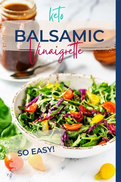 Life is too short for boring salads! You are going to love this garlicky Keto Balsamic Vinaigrette. This easy-to-make dressing will have you craving salads. Best of all, it has a fraction of the carbohydrates that traditional balsamic dressings have. Lunch Recipes, Low Carb Recipes, Real Food Recipes, Dinner Recipes, Healthy Recipes, Free Recipes, Salad Recipes, Balsamic Vinaigrette Recipe, Keto Sauces