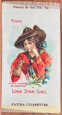 Early 1900s State TX Lone Star Girl Fatima Cigarettes Cigar Box Tobacco Silk