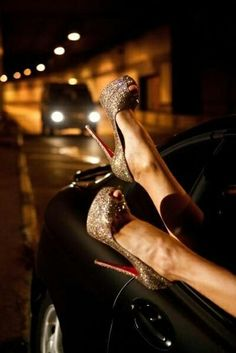 20aca18b4c7 Gold sparkly heels (Christian Louboutin) Black Heels