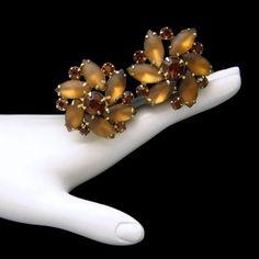 D&E Juliana Vintage Satin Glass Large Clip Earrings Topaz Rhinestones Prong Set