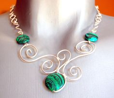 Silver plated wire wrapped necklace malakit beads by MadebySimona, $50.00