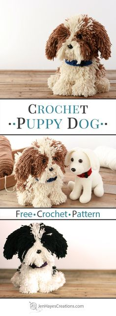 Collage of Crochet Puppy Dogs sitting on a wooden table. Text overlay, Crochet P… Collage of Crochet Puppy Dogs sitting on a wooden table. Chat Crochet, Crochet Baby Toys, Crochet For Kids, Crochet Animals, Free Crochet, Dog Crochet, Crochet Beanie, Crochet Stuffed Animals, Dishcloth Crochet