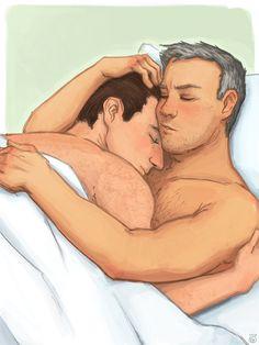Mycroft and Greg cuddling by katzensprotte / Mycroft Holmes / Gregory Lestrade / Mystrade / BBC Sherlock / fanart / fan art