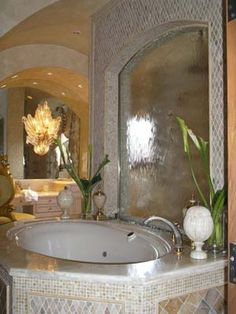 Idea for a Water feature in my bath on the 1/2 wall behind the tub