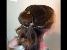 belle hairstyle tutorial You'll need a knee high nylon and a bracelet for the bun. A topsy tail to flip the pony tail through, Goody mini clips to hold in place. Spray with glitter hair spray!