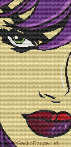 Modern Cross Stitch Kit By Thomas Fedro - 'Hint Of Colour' - Pop Art CrossStitch Kit