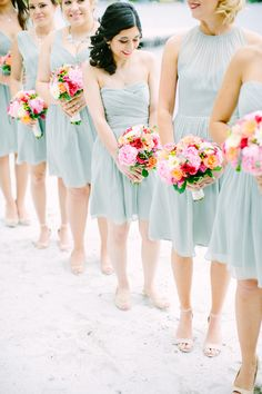 very light blue, looks as though it has a hint of green | matches nicely with the bright bouquets | Photography: Love And Light Photographs - loveandlightphotographs.com  Read More: http://www.stylemepretty.com/2014/11/10/summer-new-jersey-lakeside-wedding/
