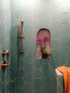 I like the complimentary tile in the nook diy bathroom decor A Family Affair: Guest Bathroom Decoration Inspiration, Decoration Design, Decor Interior Design, Interior Decorating, Decor Ideas, Wall Ideas, Diy Bathroom, Bathroom Interior, Small Bathroom