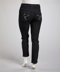 Take a look at this Dark Blue Denim Button-Pocket Ankle Pants - Plus by Jeanbay on #zulily today!