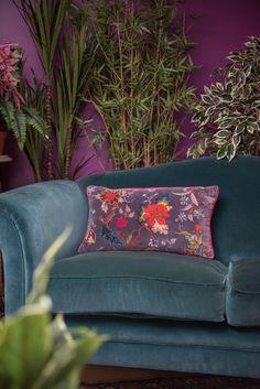 Black Plum Floral Cotton Velvet Cushion Cover – Ian Snow Ltd Floral Cushions, Velvet Cushions, Hotel Room Design, Purple Orchids, Dark Interiors, Cotton Velvet, Living Room Sofa, Living Rooms, Room Colors